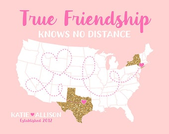 Friends Gifts, Custom Glitter Map, Long Distance Best Friends, Blush Gold, Gift for Bridesmaids, Maid of Honor | WF301
