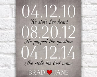 Wedding Sign, Subway Date Art, He Stole her Heart, She Stole Last Name, He Popped the Question, Important Dates, Anniversary Gift | WF273