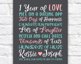 1 Year of Love Anniversary, Gift for Couple Dating or Married, Personalized First Anniversaries Gift, Fun Present for Boyfriend, Girlfriend