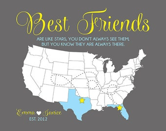 Best Friends are like Stars Custom Map Art Print - Gift for Best Friend, BFF Gift, Birthday Gift Friends, Friendship Quotes, Moving | WF345