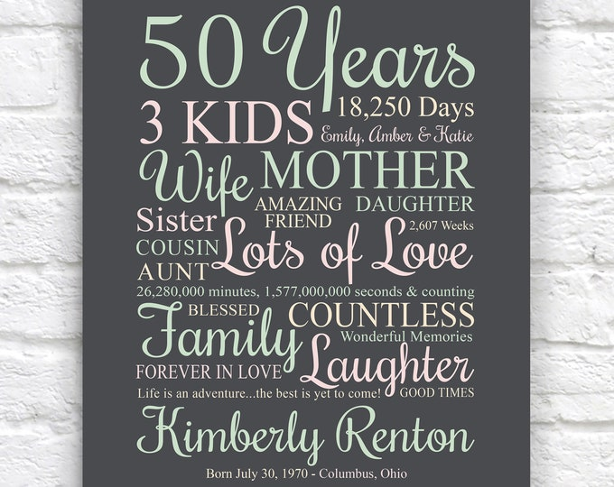Featured listing image: Womens 50th Birthday Gift, Personalized for Women and Men, Birth Year Sign, Gift for Bday Party, Moms Birthday, Sister Bday | WF707