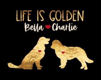 Golden Retriever Art, Life is Golden, Gift for Golden Retrievers, Personalized Pet Names, Golden Retriever Sign, Two Dogs, Family Gift