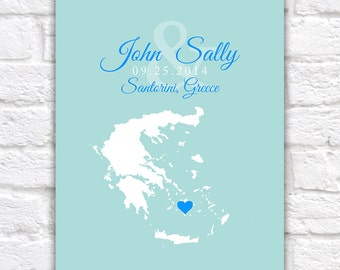 Custom Map Wedding, Engagement, Honeymoon Location  - Athens, Greece, Customized Gift, Personalized, Newlyweds, Honeymoon, Santorini