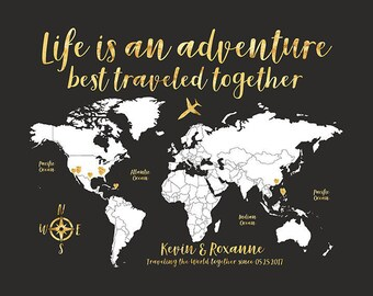 World Map Travel Poster, Gold Travel Map, Travel Quote, Life is an Adventure, Personalize Gift, Travel Destination Map, Personalise | WF555