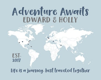 Personalized World Map for Wedding, Adventure Awaits Quote, Dusty Blue, Custom Color Choices, Adventures Map, Love Map, Travel Gifts | WF557