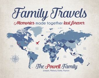 Family Travels Map, Personalized with Family Surname and First Names, World Map Locations Marked with Dot, Pin Map Print Board, Gifts