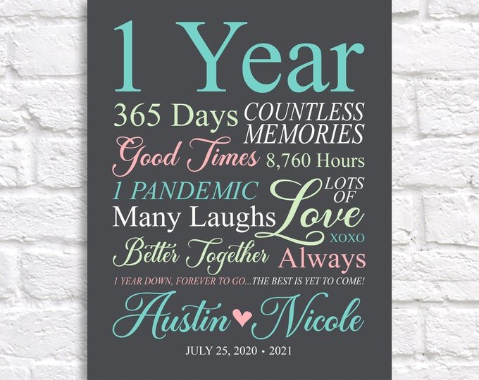 Featured listing image: 1st Anniversary Gift, Wedding Gift, One Year Together, One Year Anniversary Gift, Gift for Wife, Gift for Husband, 1 Year of Dating
