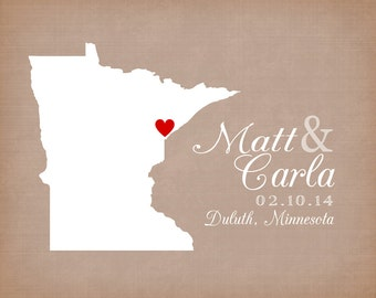 Minnesota Wedding Gift, Minneapolis, Duluth, St. Paul  Art Print - Personalized Map - Custom Wedding Gift - Neutral Wedding Colors