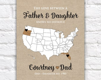 Gift for Dad, Father, Grandpa - Custom, Gifts for Dad, Gift from Daughter, Son, Military Dad, Long Distance Family, Daddy | WF21
