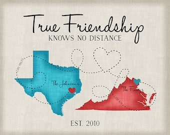 Going Away Gifts, Moving Gift for Friends, Long Distance Friend Quote, Map, Moving Out of State, Another Country, Texas, Virginia | WF1