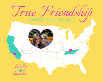 True Friendship Quote Map, Long Distance Friend Gift with Photo Heart, United States Map, Friends Name Customized on Art Print | WF348