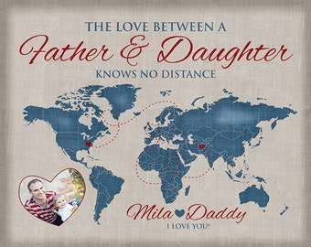 Gift for Dad, Father and Daughter Quote, Daddy Gift -Personalized Art, Care Package, Fathers Day, Military, Marine Dad, Long Distance | WF27
