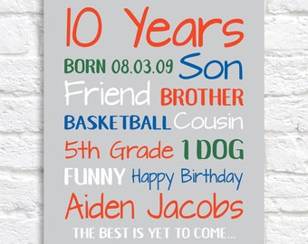 Birthday Gift for Boys, 10 Year Old Birthday Gifts, Personalized Bday Sign Stats, Son, Brother, Friend, Sports, Boys Room, Young Men | WF661