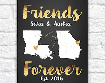 Best Friend Gift, Friends Forever Map, Gift for Friend, Birthday Gift, Turning 30, Gold Maps, Hearts, Louisiana, Georgia | WF216
