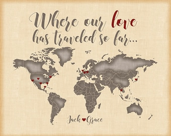 Custom World Map, Wedding Gift for Couples, Engagements, Anniversaries -  Personalized Art Print, Quote, Names, Love heart Passport   WF46