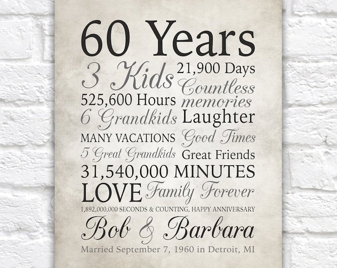 Featured listing image: 60th Anniversary Gift, 60 Years Married or Any Year, Gift for Grandma and Grandpa, Grandparents Anniversary, Parents, Diamond Gray Sign