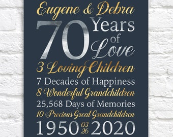 70th Anniversary Gifts, Personalized Art for 70 Year Anniversary or ANY YEAR - Grandparent Anniversary, Custom Designed Sign WF404