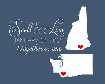 Custom Wedding States Art Print -  Custom Art, Two States, Hearts, Love, Husband and Wife, Gift for Husband, Popular Wedding Gifts Sign