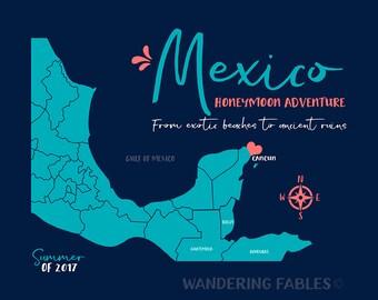 Cancun, Mexico Map, Personalized Gift, Riviera Maya, Playa Del Carmen Wedding, Honeymoon, Cozumel, Ancient Ruins, Exotic Beach | WF588