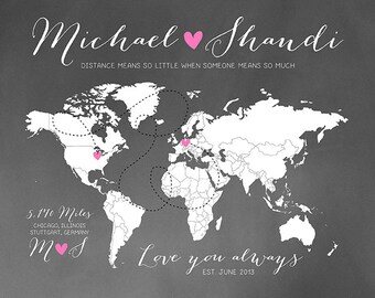 Custom Long Distance Personalized Chalkboard World Map Gift  For Husband Wife Military Deployment Quote, Long Distance Relationships | WF57