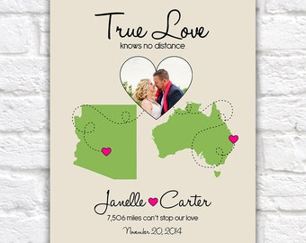 Photo Map, Custom Wedding, Engagement, Anniversary Gift Idea -  Custom Print, Any Photo, Locations, Maps -  Long Distance Relationships