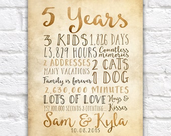 5 Year Anniversary Gift, 5th Year of Marriage or Dating, Rustic Sign for Wall, Anniversary Countdown Time Days, Seconds, Fifth | WF188