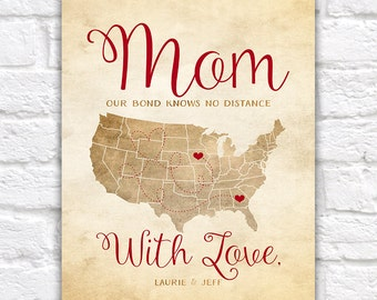 Mothers Day Gift, Long Distance Mom and Daughter, Son, Children - Mom and Kids Quote, Mommy Gifts, Gift for Mom, Grandma, Parents, Mama
