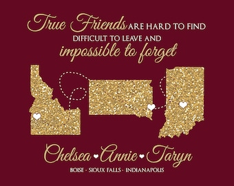 Custom Gift Friends Long Distance,  Personalized Map Gift For Best Friends, 3 Friends, Sisters, Glitter Maps, Gold, Sign, Christmas | WF96