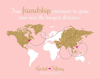 Best Friend Custom Gift, Long Distance Friend,  Glitter Custom Map, Mom, Sister, Daughter, Farewell, Moving, Blush Gold, Going Away | WF181