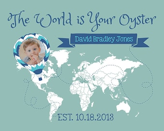 Baby Gift, Travel Theme, The World is Your Oyster - Custom Kids Map, Baby Photo, Room Decor, Nursery, Travel Nursery, Hot Air Balloon, Boy