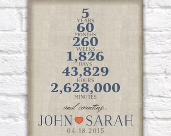 5 Year Anniversary, One Year Wedding Anniversary, Paper Anniversary, Husband, Fiance, Boyfriend, Wife, 5th Anniversary Typography | WF370