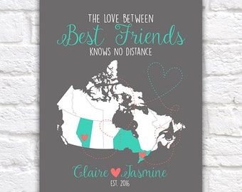 Canada Map, Best Friend Gift, Canadian Provinces, Ontario, Alberta, British Columbia, Quebec, Newfoundland, Long Distance Friends | WF475