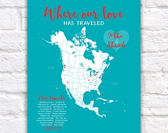 Travel Gifts, Custom North America, USA, Canada, Mexico, Central America Map, Travel Dots, Anniversary Gift, Gift for Husband, Wife | WF62
