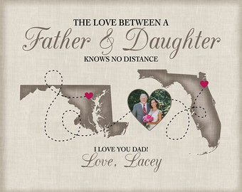 Father Daughter Long Distance Relationship Maps, Missing You Gift for Fathers Day, Dad Art, Personalized Sign for Dad, Birthday Fathers
