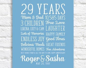 Parents Anniversary Gift, Mom and Dad Wedding Anniversary, 29th Anniversary, 29 Years of Marriage, Personalized Couples Names Gift  | WF685