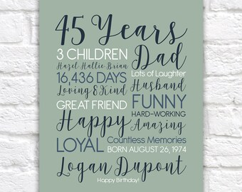45th Birthday Gift for Men or Women, Husbands Birthday Art, 45th Bday, Born 1974, Personalized Present | WF334