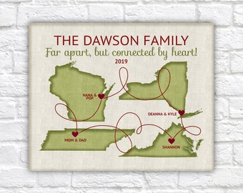 Family Christmas Gift, Personalized Maps for Long Distance Family Members, Grandparents Custom Designed Artwork for Siblings, Parents WF701