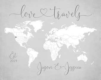 World Map Personalized Gift, Love Travels Sign, Pin Map Print Mounted, Neutral Gray Decor, Wedding Gift for Couples who Travel  | WF686
