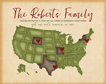 Family Map Showing Locations Family Lives - Distressed USA Map, Like Branches on a Tree Quote, Roots, Family Heritage, Grandparents   WF528