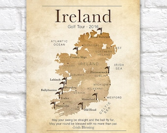 Gift for Golfer, Ireland Map, Golf Map, Personalized Golf Gifts, Golf Courses in Ireland, Irish Blessing, Ireland Quote, Celtic | WF37