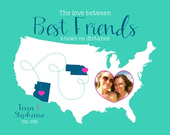 Custom Map for Best Friends Art Print, Gift for Best Friend Birthday Gift, Photo Map, Best Friends Quote, Unique Gift, Long Distance | WF243