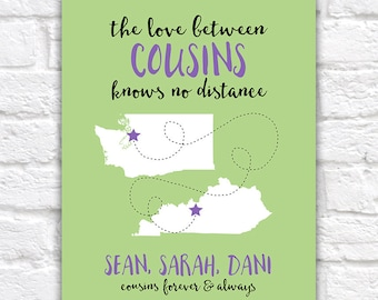 Gift for Cousins, Long Distance Family, Cousin Quotes, Personalized Art, Distant Relatives, Customizable Cousin Moving Friendship WF182
