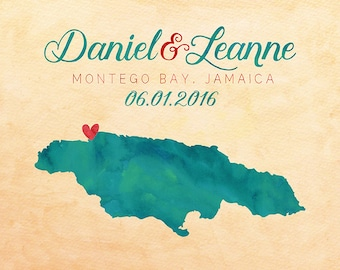 Jamaica, Montego Bay Map, Jamaica Wedding Gift, Honeymoon, Wedding Guestbook, Destination, Jamaican, Negril, Tropical Engagement Gift | WF53
