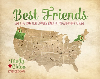 Best Friends are like Four Leaf Clovers, Hard to Find and Lucky to Have - Custom Map, Friendship Quotes, St. Patricks, Irish, Celtic | WF335