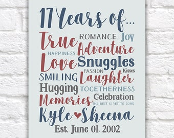 17th Anniversary Gift, Choose Any Year, Personalized Art, Gift for Husband, Wife, Together 17 Years, Unique Anniversary Gifts | WF607