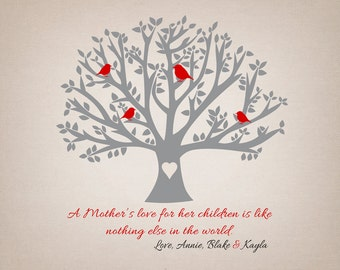 Family Tree, Mothers Day Gift for Special Mom -  Art Print, Tree with Birds, Mom Quote, Poem, Gift from Kids