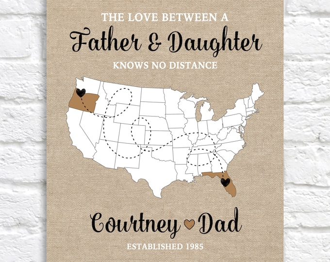 Featured listing image: Christmas Gift for Dad, Personalized Long Distance Map, Living Apart from Father, Across the Country Move, Dad Birthday Gift, Father in law