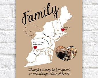 East Coast Map, Family Gift, Moving Away Gift -  Personalized Art, Your Photo, Gift for Parents, Thank You Gift, Mom and Dad, Unique WF210