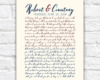 Anniversary Vows Gift for Husband, Wife, Wedding Vow Art, Personalized Gift for 10th Anniversary, Typography, Hubby Gifts   WF363