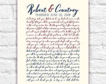 Anniversary Vows Gift for Husband, Wife, Wedding Vow Art, Personalized Gift for 10th Anniversary, Typography, Hubby Gifts | WF363